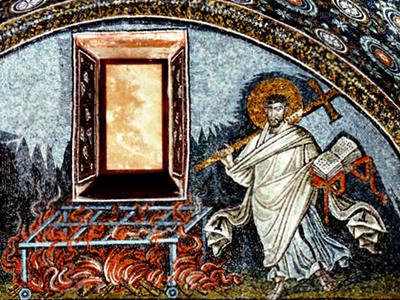 Der heilige Laurentius von Rom. Mosaik im Mausoleum der Galla Placidia in Ravenna, 5. Jahrhundert.