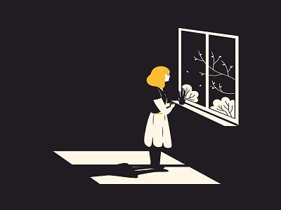 Grafik von einer Frau, die am Fenster steht