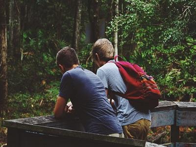 zwei freunde in der natur