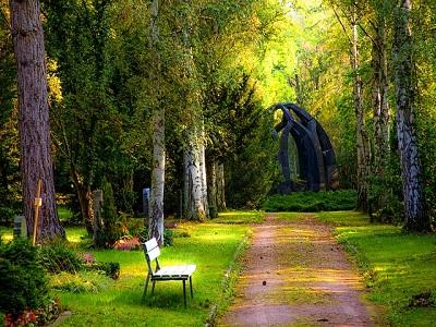 Blick auf einen Friedhof