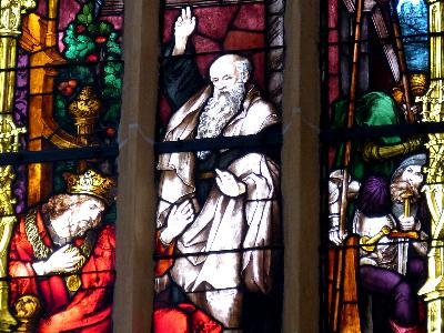 Nathan bei König David - Szene in einem Kirchenfenster