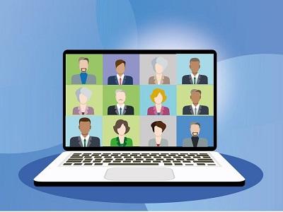 Grafik von PC während einer Internetkonferenz