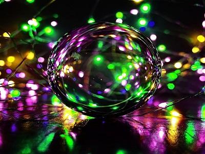 Lichtreflexionen mit Glaskugel