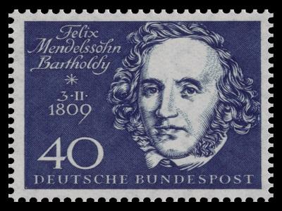 Eine Briefmarke mit Felix Mendelssohn Bartholdy